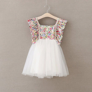 Floral & White Tulle Dress