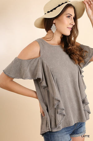 Mineral Wash Ruffle Cold Shoulder