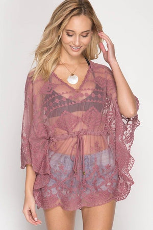 Crochet Lace Poncho Top- Multiple Colors