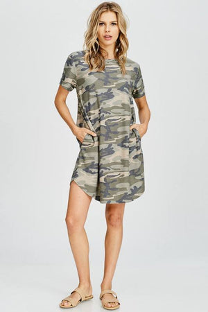 Loose Fit Camo Dress