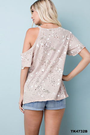 Taupe Splatter Top