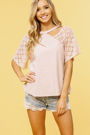 Lace Sleeve Woven Top - Multiple Colors