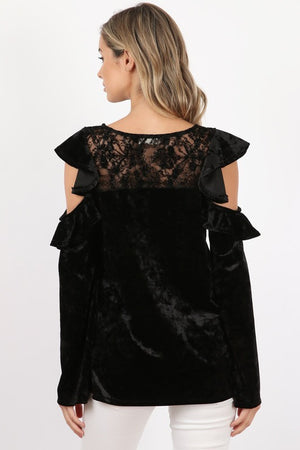 Lace Ruffle Velvet Top
