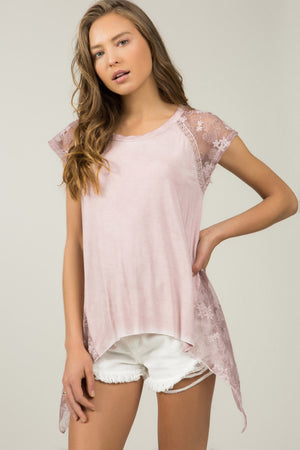 Dusty Pink Lace Sleeve