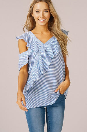 Cold Shoulder Ruffle Button Top