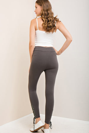 Side Tie Leggings - Grey