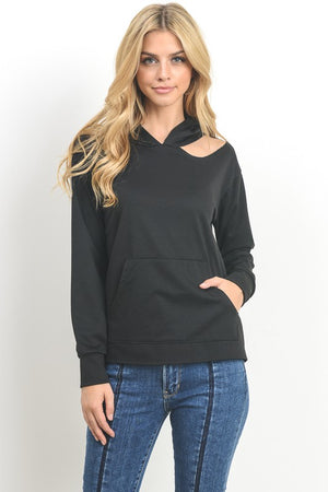 Cut Out Shoulder Hoodie- Multiple Colors