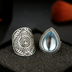 Luxria Light Blue Water Drop Rings