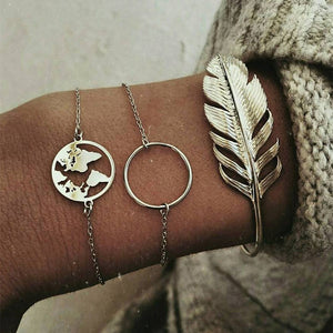 Bohemian Feather Map Charm Bracelets