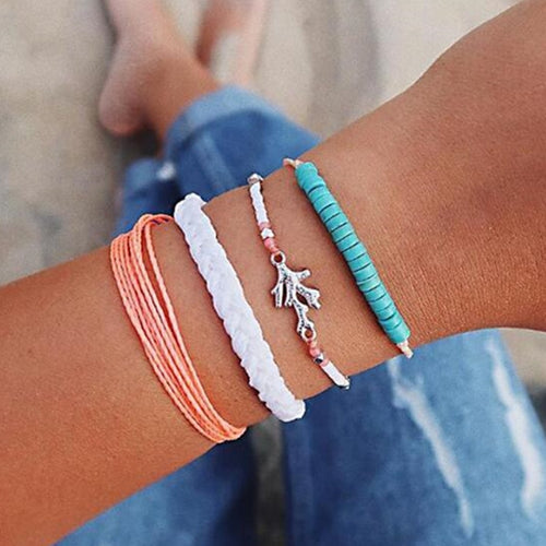 Bohemian New White Blue Pink Rope Chain Bracelets