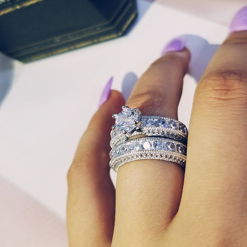 Kimberly Diamond Silver Rings Set