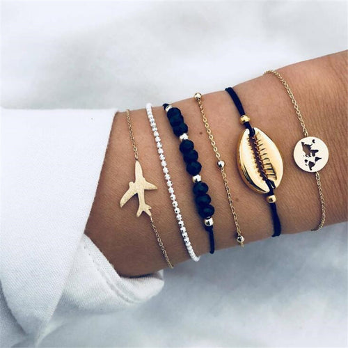 Bohemian Airplane Map Bracelets