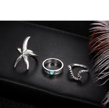 Load image into Gallery viewer, Luxria Starfish Silver Rings