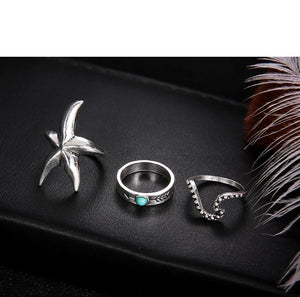 Luxria Starfish Silver Rings