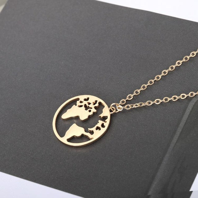 Geometric World Map Necklace