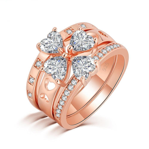 3 in 1 Rose Gold Crystal Heart Ring