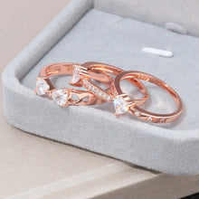 Load image into Gallery viewer, 3 in 1 Rose Gold Crystal Heart Ring