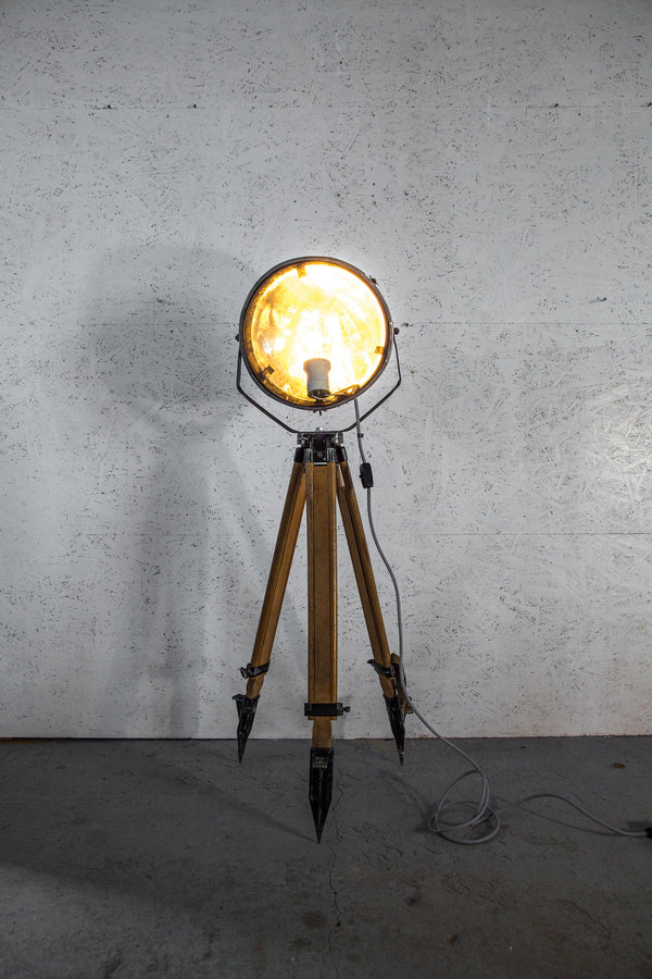 Industrial Tripod Floor Lamp - Small Brushed Steel 1960s