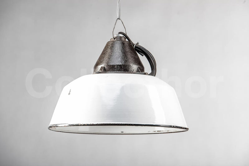 White Enamel Ceiling Light