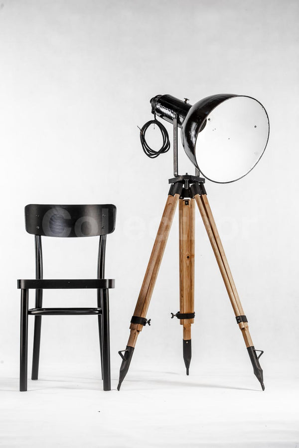 Industrial Tripod Floor Lamp - Large Black Enamel 1960s
