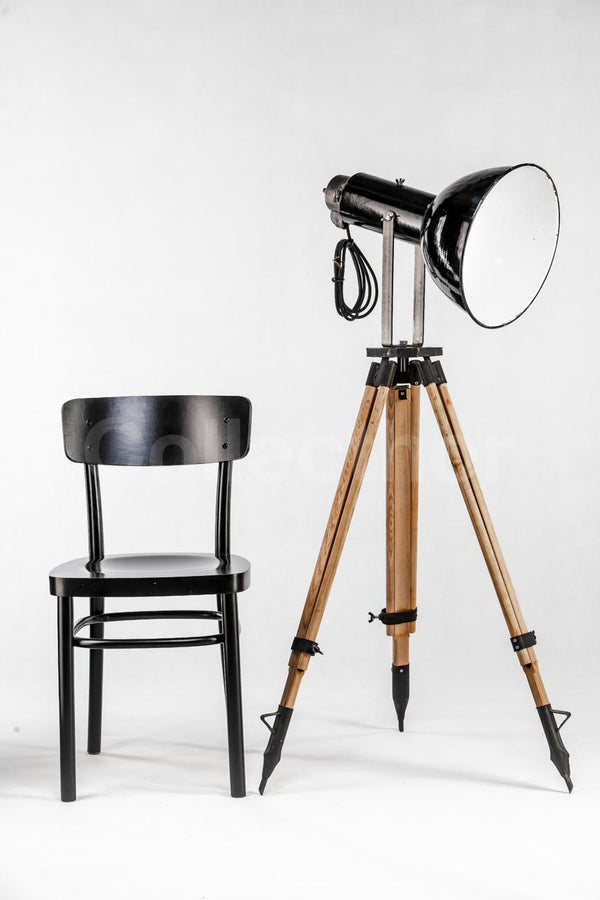 Industrial Tripod Floor Lamp - Small Black Enamel 1960s