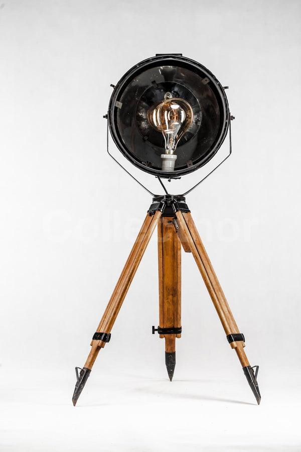 Industrial Tripod Floor Lamp - Large Metal Reflector 1960s