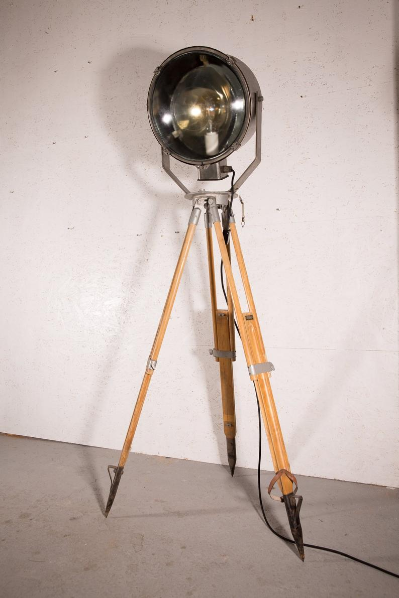 Industrial Tripod Floor Lamp - Large Brushed Steel 1960s