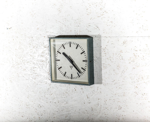Polished Factory Clock - Blue Burned Steel 1960s