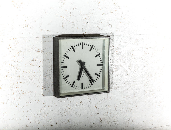 Polished Factory Clock - Dark Gray Burned Steel 1960s