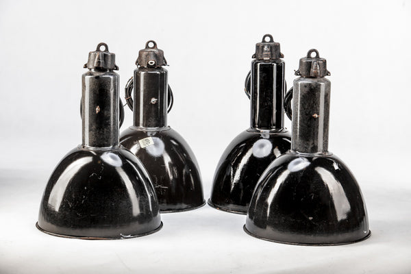 Set of 4x Ceiling Lamps - Black Enamel Light by Elektrosvit from the 1960s