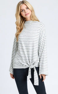 Brush Fleece Striped Top with Tie
