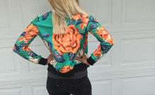 Load image into Gallery viewer, Green Floral Zip Front Bomber Jacket