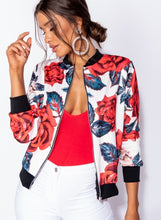 Load image into Gallery viewer, Rose Floral Zip Front Bomber Jacket