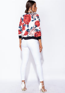 Rose Floral Zip Front Bomber Jacket