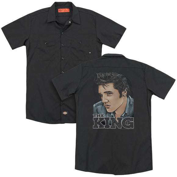 Elvis - Graphic King(Back Print) Adult Work Shirt