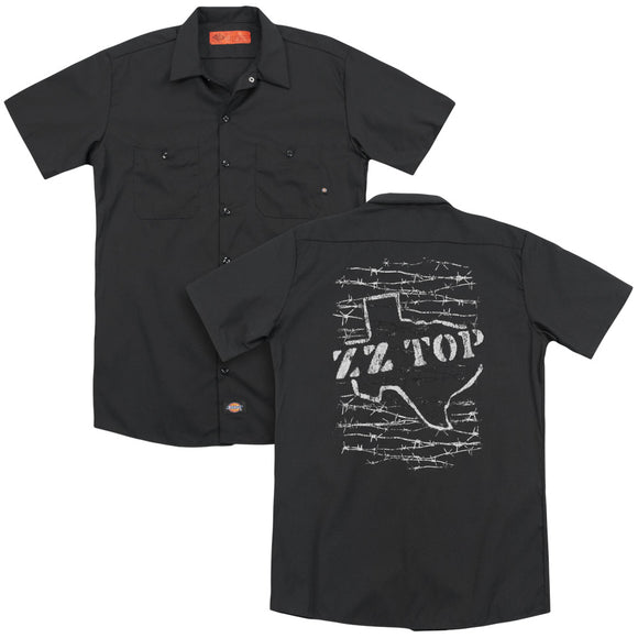 Zz Top - Barbed (Back Print) Adult Work Shirt