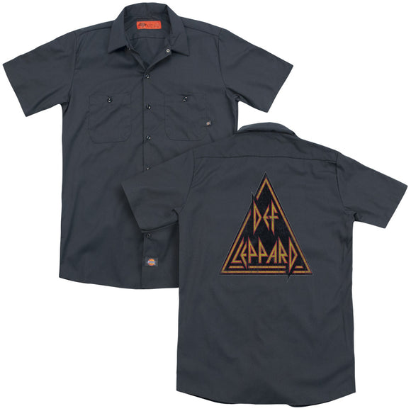 Def Leppard - Distressed Logo(Back Print) Adult Work Shirt
