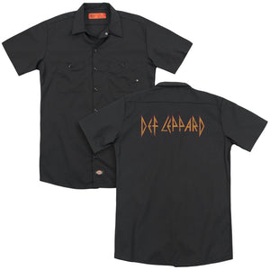 Def Leppard - Horizontal Logo(Back Print) Adult Work Shirt