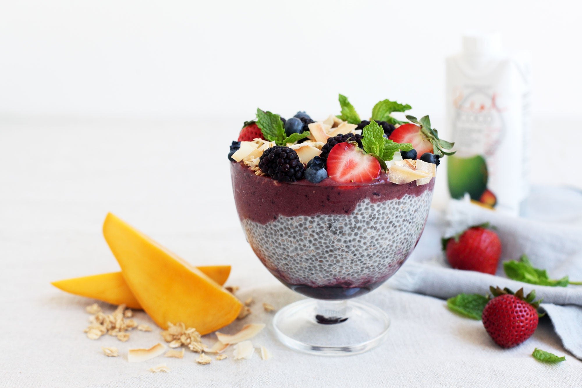 Acai-Chia Parfait layered with Berries