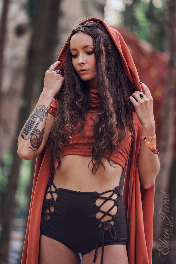 Wing Sleeve Crop top with Generous Hood