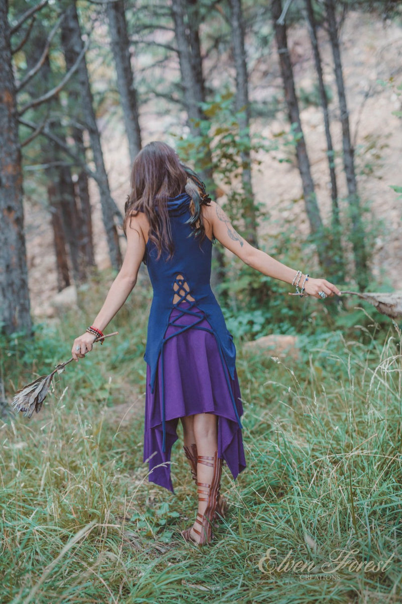 Cowl Top with Lace up Back ~ no sleeves ~ Elven Forest, Festival clothing