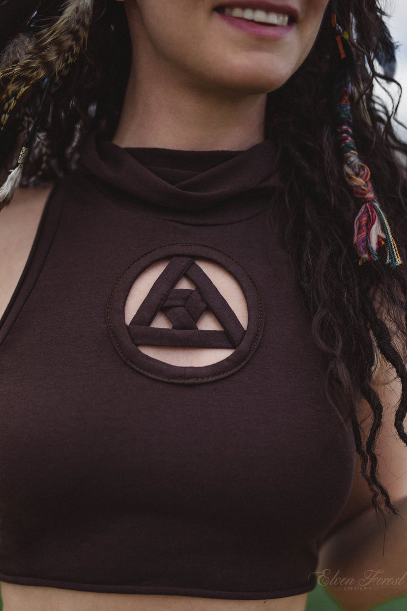 Key Hole Crop Top ~ with triangle tesseract design inside, Elven Forest, Festival clothing