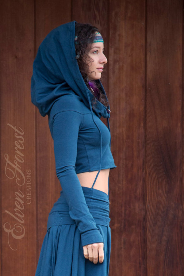 Cropped Hoodie ~ with Generous Hood ~ Elven Forest, festival clothing
