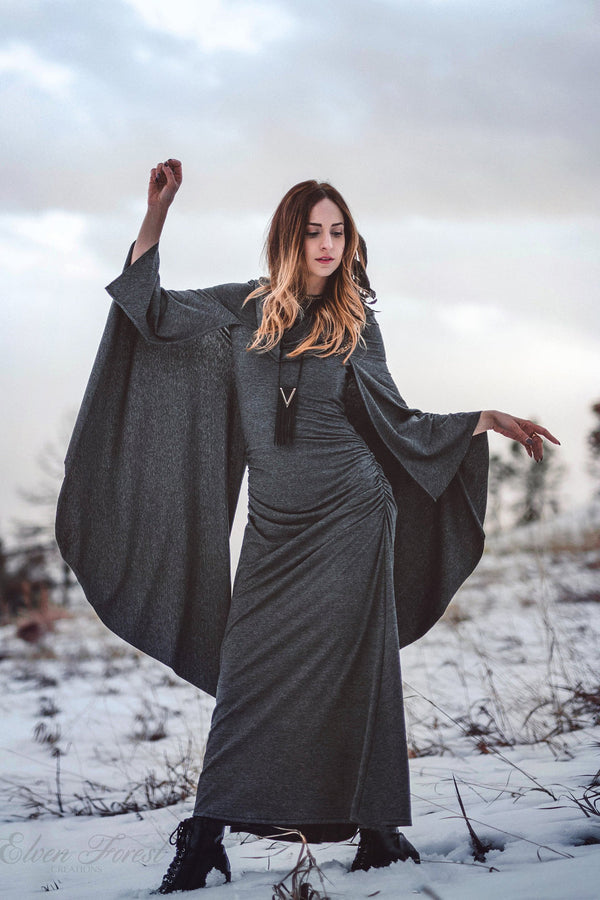 Hooded Cape Maxi Dress ~ Wings and Cowl Hood ~ Elven Forest, festival clothing