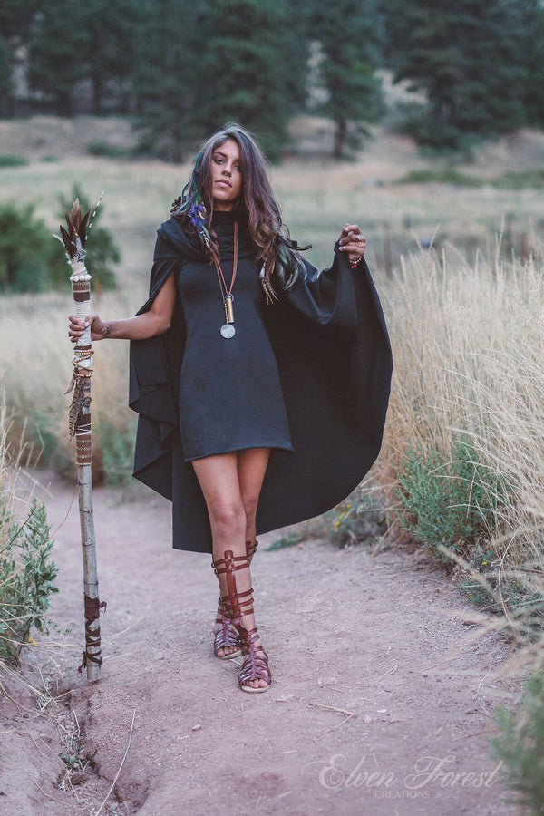 Hooded Cape Dress ~ Elven Forest, cowl hood, Festival clothing