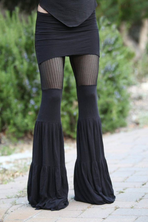 Black Lace Zumi Dance Pants - with vertical Chevron lace - and adjustable skirt length