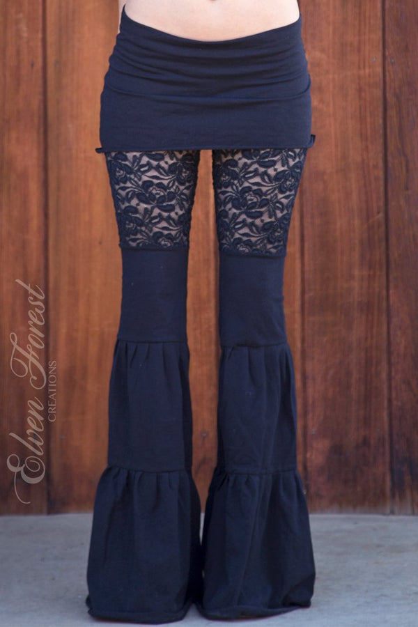 Lace Zumi Dance Pants - in Black Hearty Embroidered Floral Lace