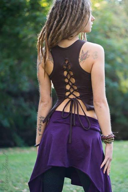 Lace up Pixie Tank ~ Elven Forest, Festival clothing, goddess tank