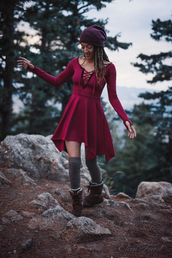 Velvet Lace-Up Pixie Dress