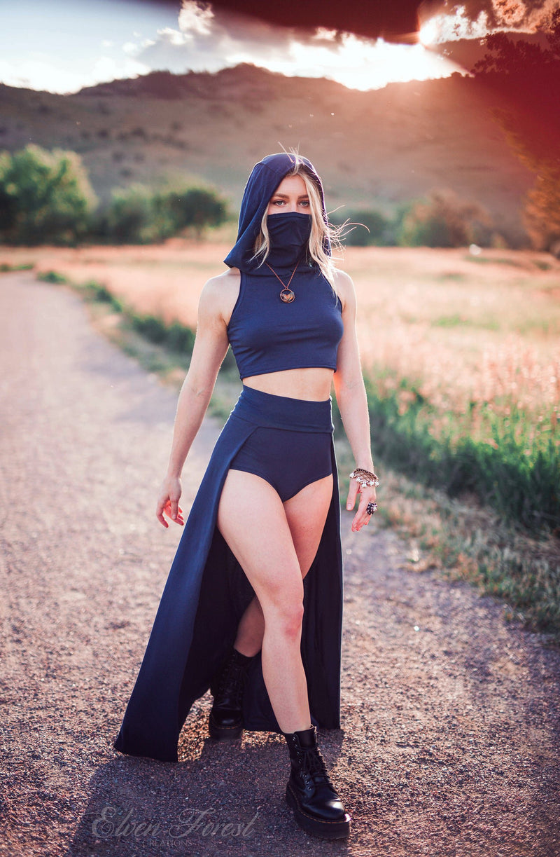 Dust Mask Hoodie Crop Top